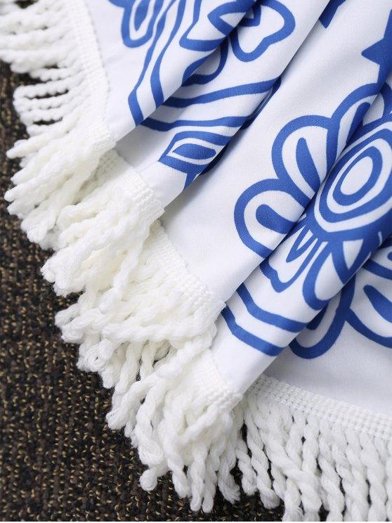 Round Printed Tassels Mandala Beach Blankets - BLUE  Mobile