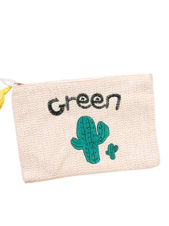 Cactus Embroidered Straw Clutch Bag - WHITE  Mobile