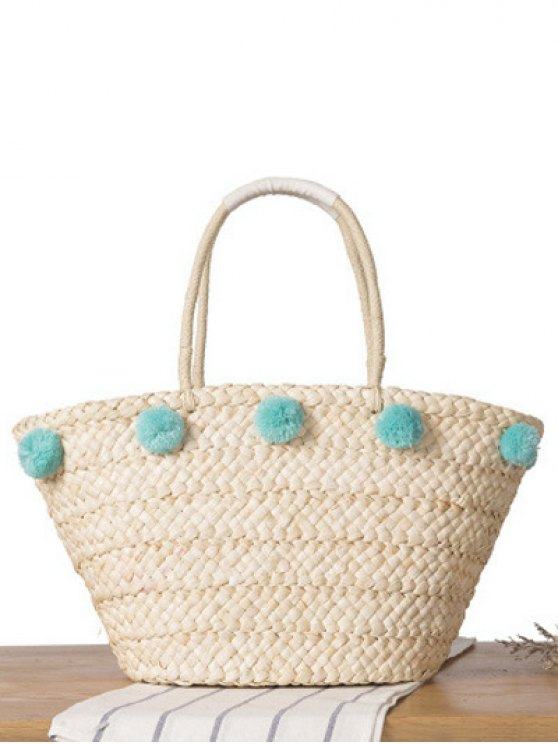 Star Print Pom Pom Straw Shoulder Bag - BLUE  Mobile
