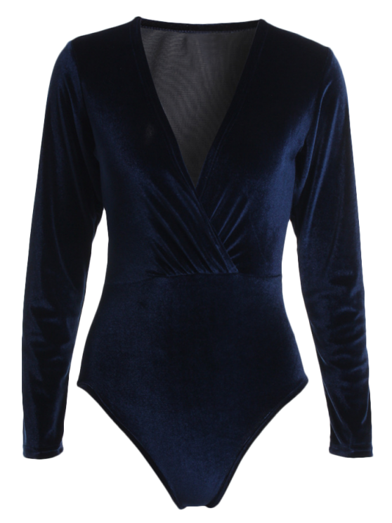 women Long Sleeve Velvet Bodysuit - CADETBLUE L