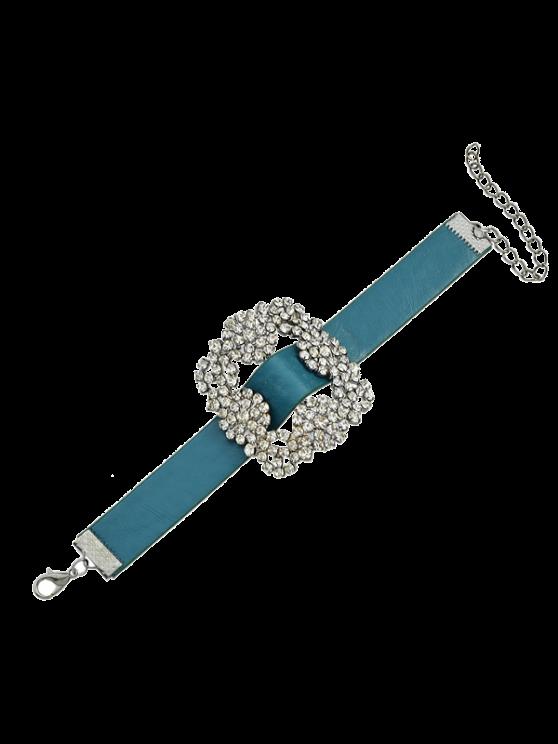 Rhinestone Faux Leather Flower Bracelet - BLUE  Mobile