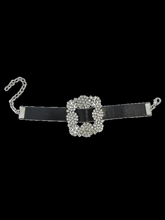 unique Rhinestone Faux Leather Flower Bracelet - BLACK
