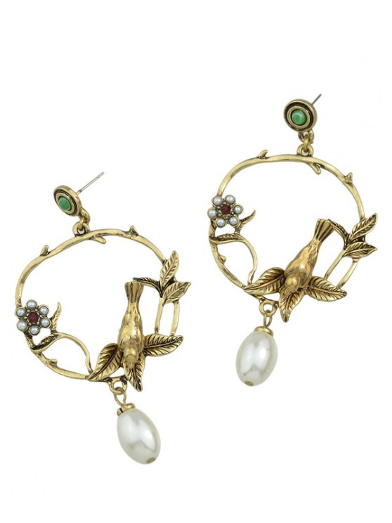 Faux Pearl Flower Leaf Earrings - GOLDEN  Mobile