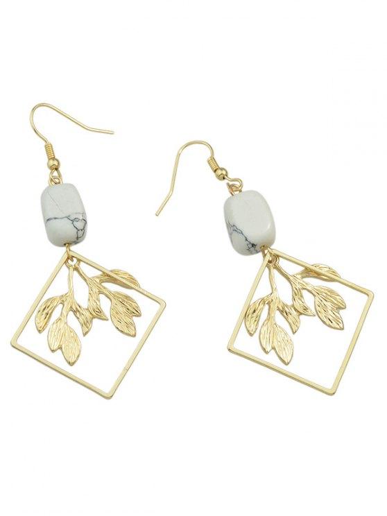 Artificial Rammel Geometric Leaf Earrings - GOLDEN  Mobile