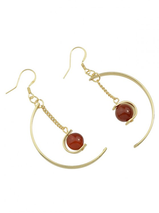 Faux Gem Bead Chain Circle Earrings - RED  Mobile