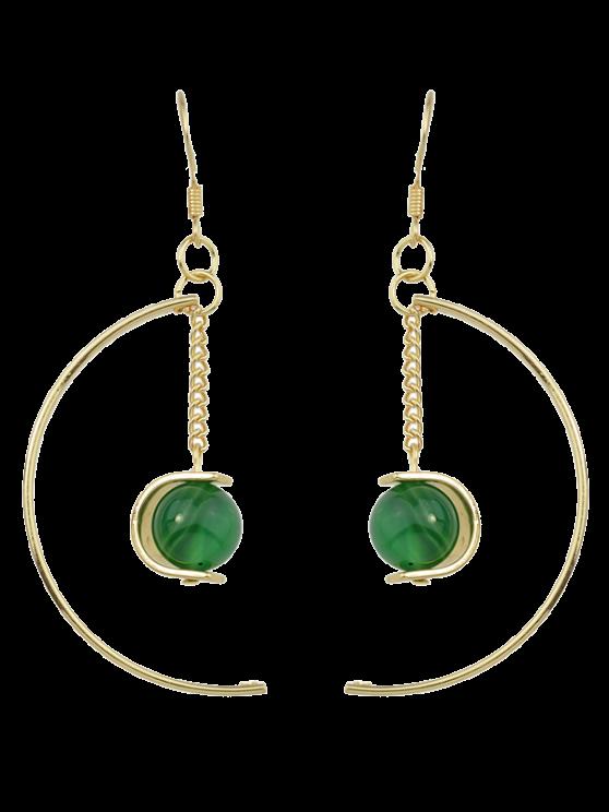 women Faux Gem Bead Chain Circle Earrings - GREEN