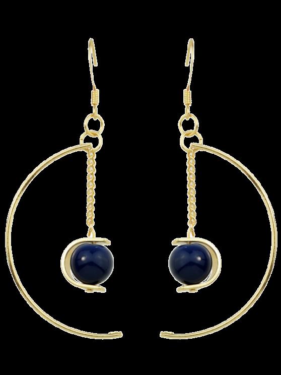 women's Faux Gem Bead Chain Circle Earrings - BLUE