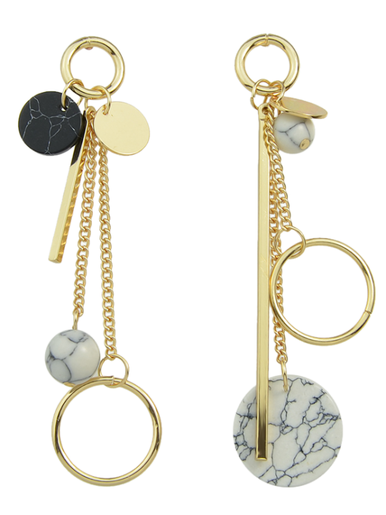 Circle Ball Bar Disc Asymmetric Earrings - GOLDEN  Mobile
