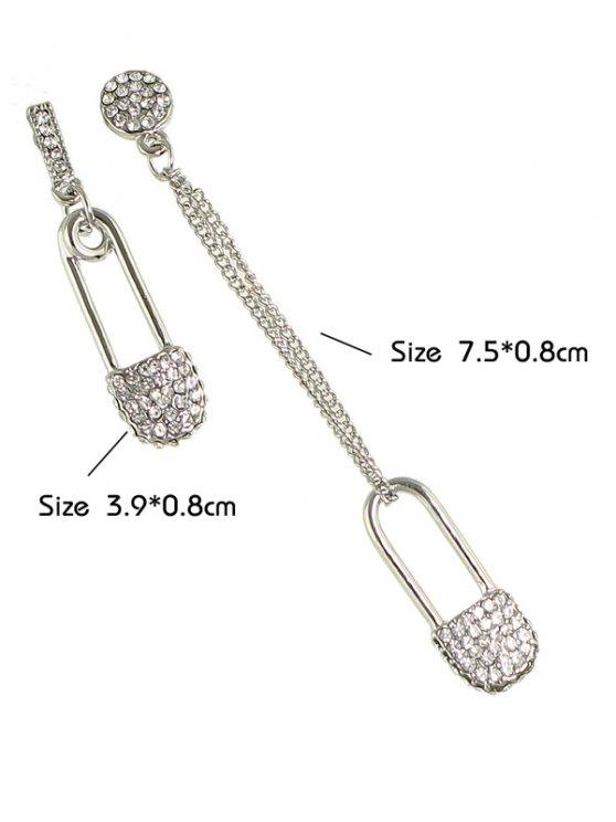 Rhinestone Love Lock Asymmetric Earrings - SILVER  Mobile