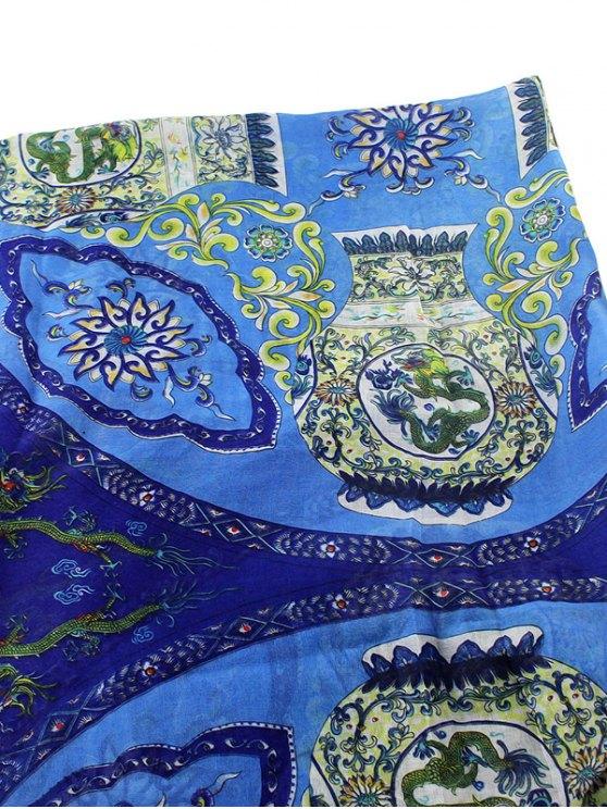 Tassel Flower Porcelain Print Scarf - BLUE  Mobile