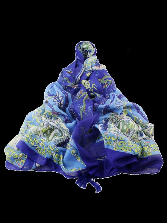Écharpe frangée avec motifs ethniques de fleurs et de vases - Bleu