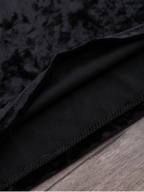 Crushed Velvet Off The Shoulder Top - BLACK S Mobile