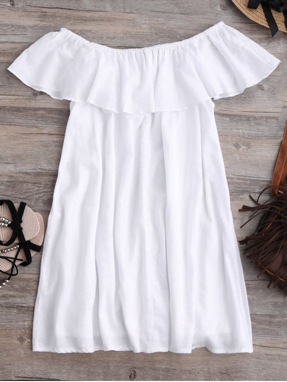 Frilly Off The Shoulder Dress - WHITE L Mobile