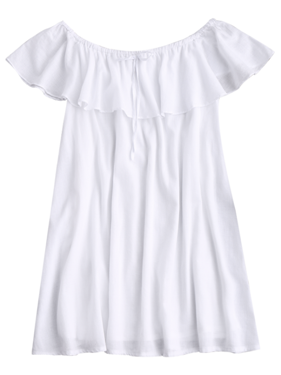 Frilly Off The Shoulder Dress - WHITE M Mobile