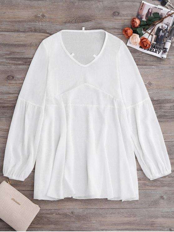 best Long Sleeve Flowy Beach Coverup Dress - WHITE XL