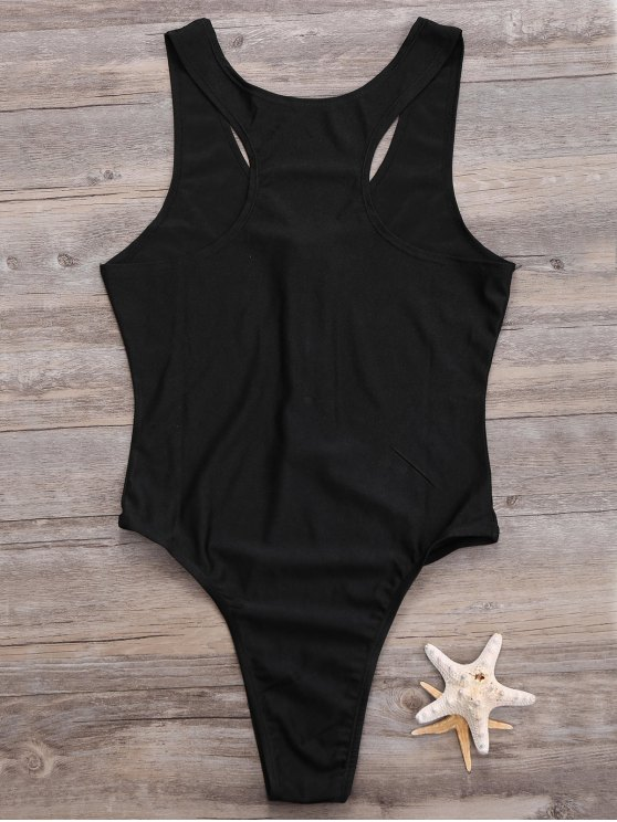 Zipper High Leg One Piece Swimsuit - BLACK S Mobile