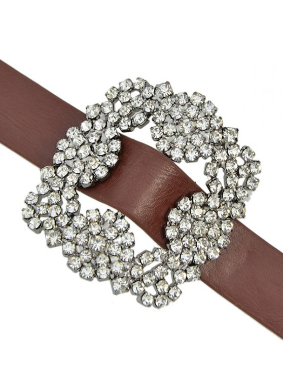 Rhinestone Faux Leather Flower Bracelet - BROWN  Mobile