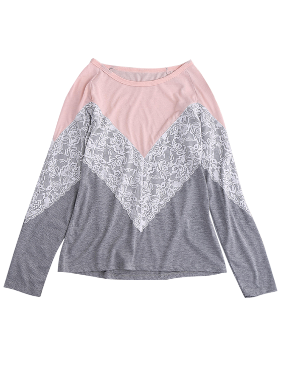 Long Sleeves Chevron Panel Tee - GRAY S Mobile