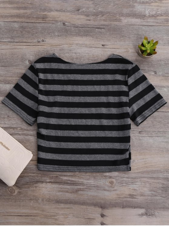 Fitted Striped Crop Top - BLACK AND GREY S Mobile