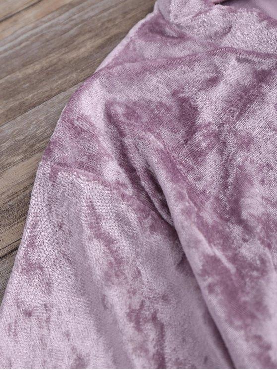 Crushed Velvet Mock Neck Tee - PINKISH PURPLE S Mobile