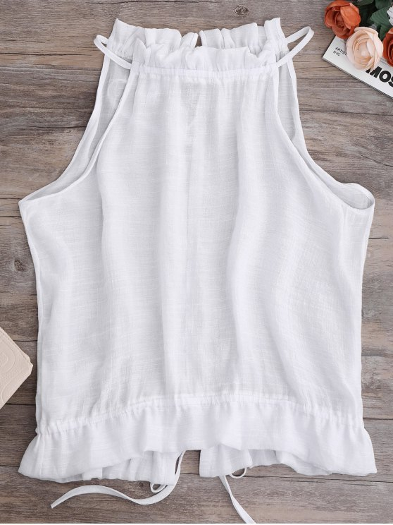latest Tie Back Frilled Tank Top - WHITE S