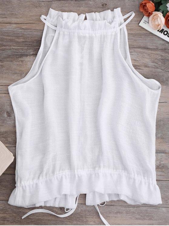Chaleco Fruncido con Nudo en Espalda - Blanco XL