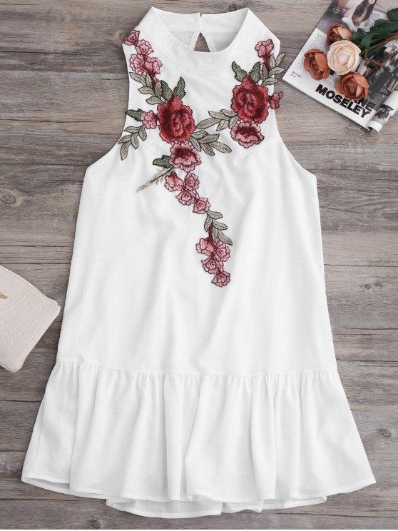 women Patches Frill Hem Mini Dress - WHITE M