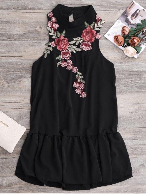 lady Patches Frill Hem Mini Dress - BLACK S