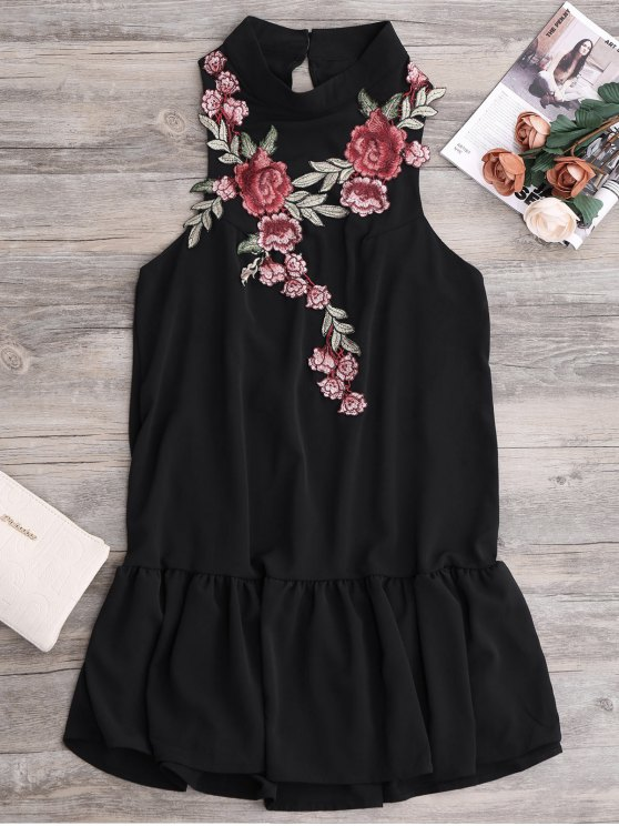 best Patches Frill Hem Mini Dress - BLACK M