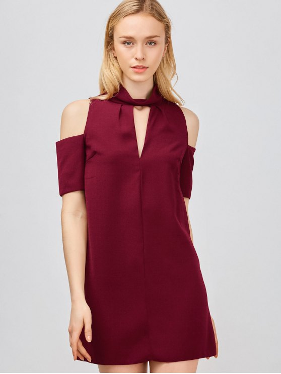 womens Cold Shoulder Cut Out Trapeze Dress - WINE RED M