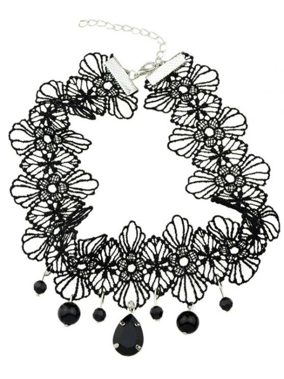 Crochet Lace Floral Pendant Choker - BLACK  Mobile