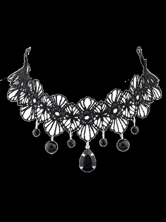shops Crochet Lace Floral Pendant Choker - BLACK