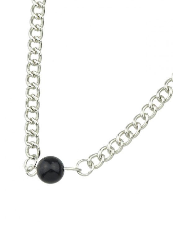 Beaded Link Chain Choker - SILVER  Mobile