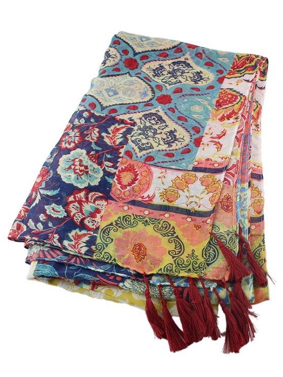Ethnic Floral Printed Tassel Scarf - MULTICOLOR  Mobile