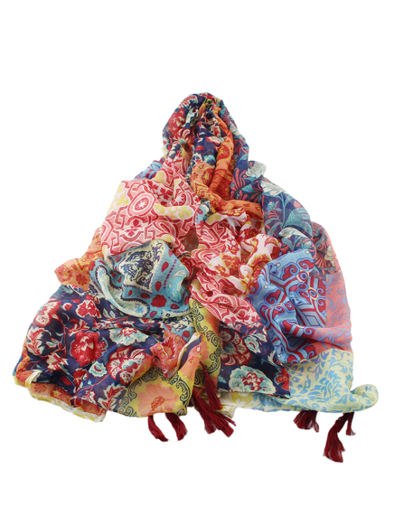 Écharpe multicolore bordée de glands avec impressions ethniques florales - Multicouleur