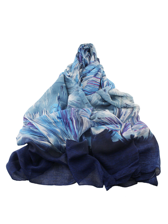 Boho Abstract Line Print Wrap Scarf - BLUE  Mobile