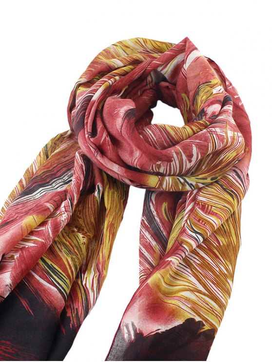 Boho Abstract Line Print Wrap Scarf - RED  Mobile