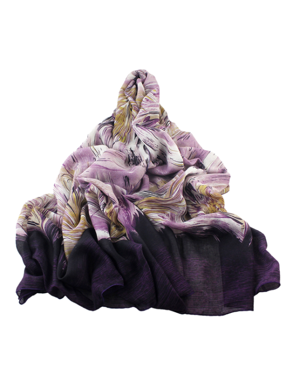 outfit Boho Abstract Line Print Wrap Scarf - PURPLE