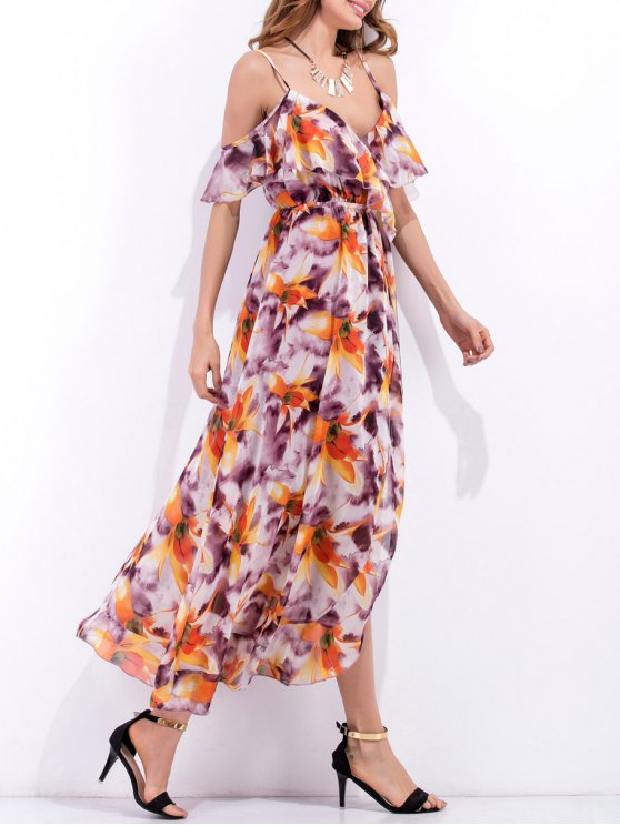 High Slit Ruffle Floral Holiday Dress - PURPLE S Mobile