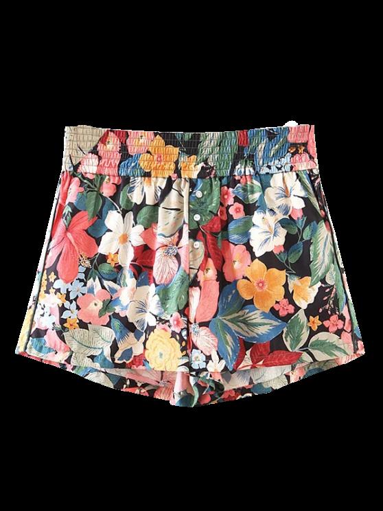 Botón embellecido pantalones cortos de flores tropical - Floral L