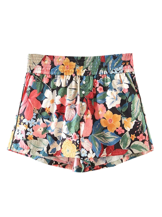 womens Button Embellished Tropical Floral Shorts - FLORAL M