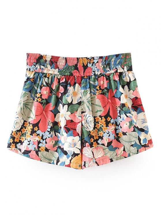 Button Embellished Tropical Floral Shorts - FLORAL S Mobile