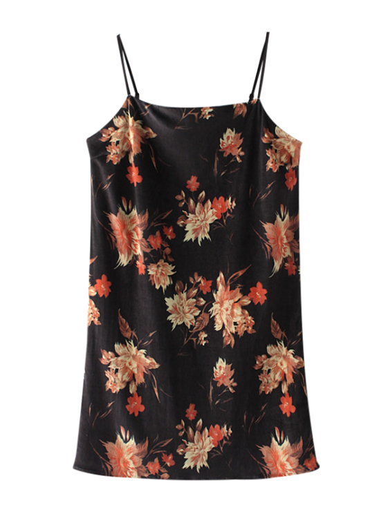 shops Floral Velvet Cami Dress - BLACK S