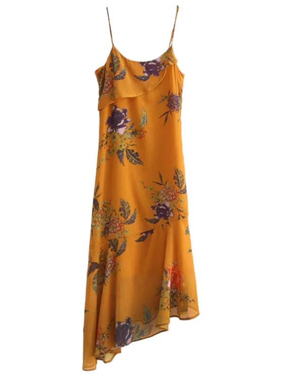 Floral Asymmetric Slip Dress - Amarillo profundo M