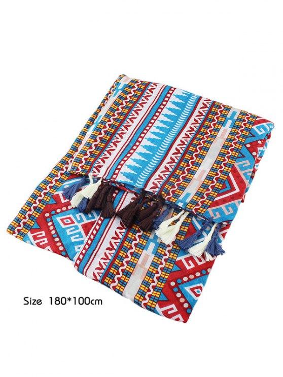 Geometric Print Ethnic Tassel Scarf - MULTICOLOR  Mobile