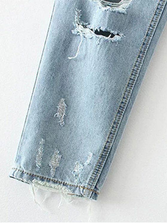 Cereus Embroidered Ripped Jeans - LIGHT BLUE L Mobile