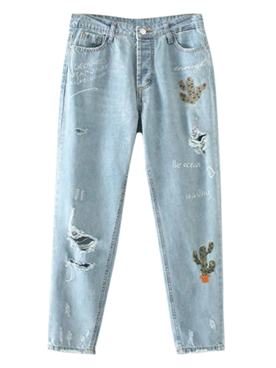 affordable Cereus Embroidered Ripped Jeans - LIGHT BLUE M