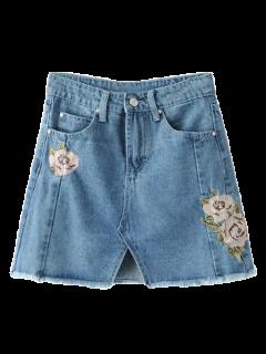 Front Slit Floral Embroidered Denim Skirt - Denim Blue S