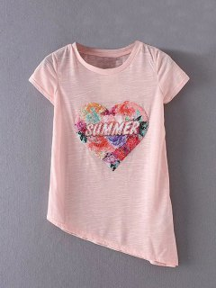 Asymmetric Graphic Tee - Pink S