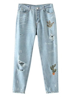 Cereus Embroidered Ripped Jeans - Light Blue S